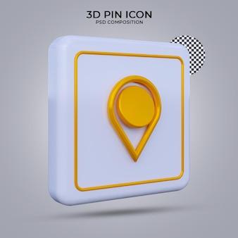 Icono de pin de render 3d aislado