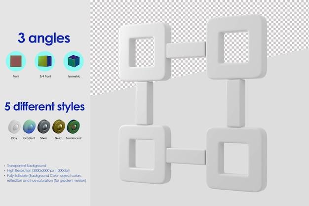 Icono de puntos de conexión 3d