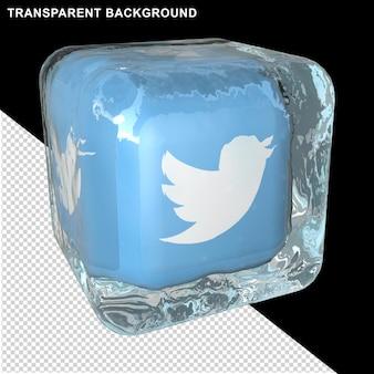 El icono de las redes sociales está en un cubo de hielo.