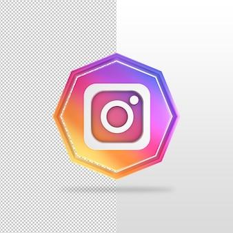 Icono de render 3d de instagram de octágono