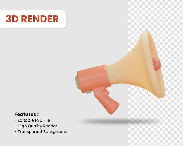 Icono de render 3d de megáfono aislado