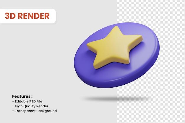 Icono de renderizado 3d de insignia estrella aislada. útil para la ilustración de diseño de aplicaciones móviles o sitios web.