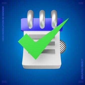 Icono de renderizado 3d de negocios tarea completada