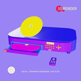 Icono de renderizado 3d reproductor de dvd