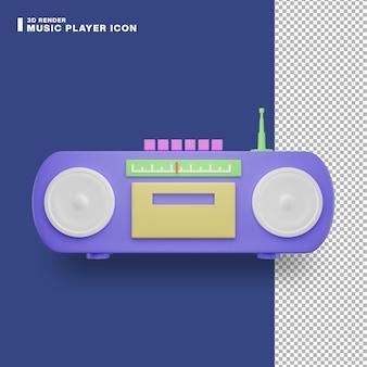 Icono de reproductor de música de renderizado 3d