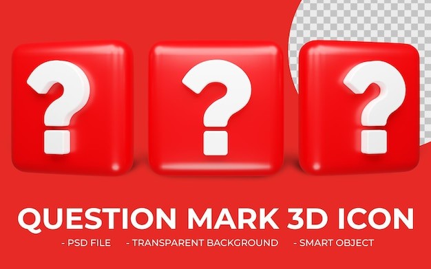 Icono de signo de interrogación renderizado 3d aislado
