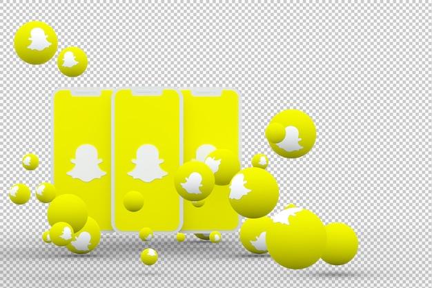 Icono de snapchat en la pantalla del móvil con fondo aislado