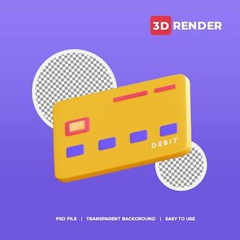 Icono de tarjeta de débito 3d con fondo transparente