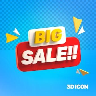 Icono de texto lateral de gran venta de marketing 3d