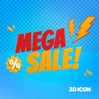 Icono de texto de mega venta de marketing 3d