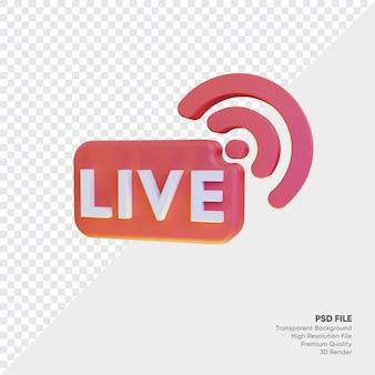Icono de transmisión en vivo que brilla intensamente