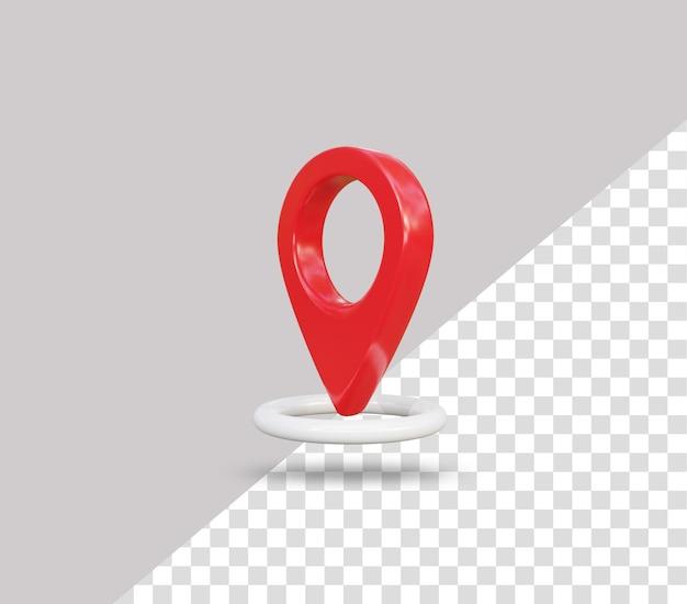 Icono de ubicación de pin rojo 3d realista