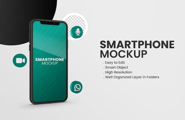 Con el icono de whatsapp 3d en la maqueta de teléfono inteligente negro aislado