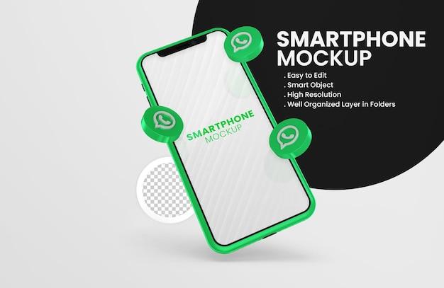 Con el icono de whatsapp de render 3d en maqueta de teléfono inteligente verde