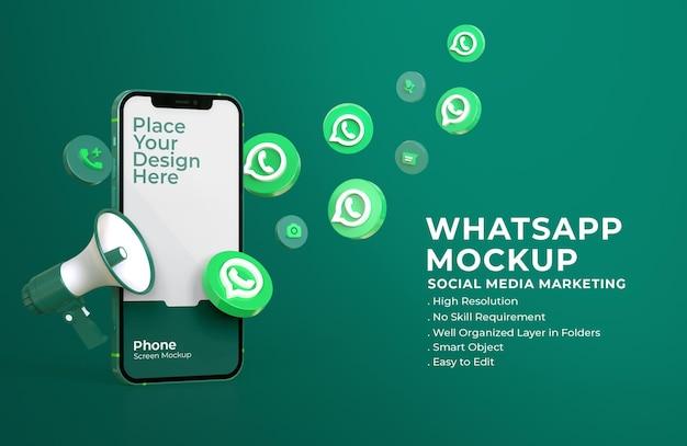 Iconos 3d de whatsapp con maqueta de pantalla móvil y megáfono