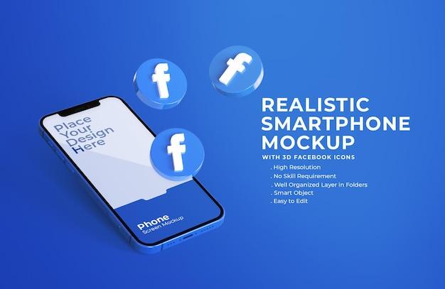 Iconos de facebook 3d con maqueta de pantalla móvil