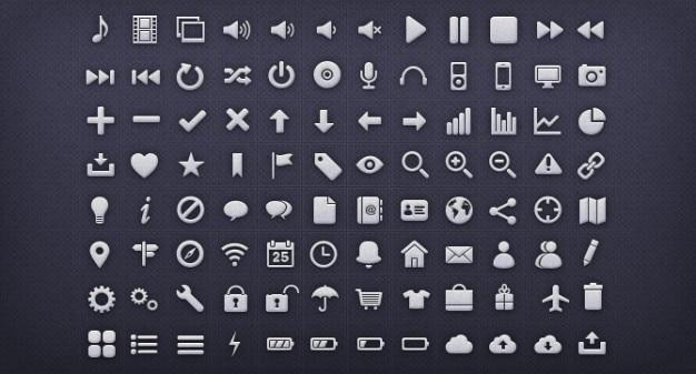 Iconos de la interfaz de metal paquete de psd