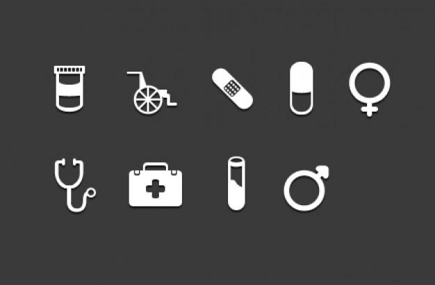 Iconos kit médico creativas psd