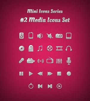 Iconos de los medios en el color plata y con relieve