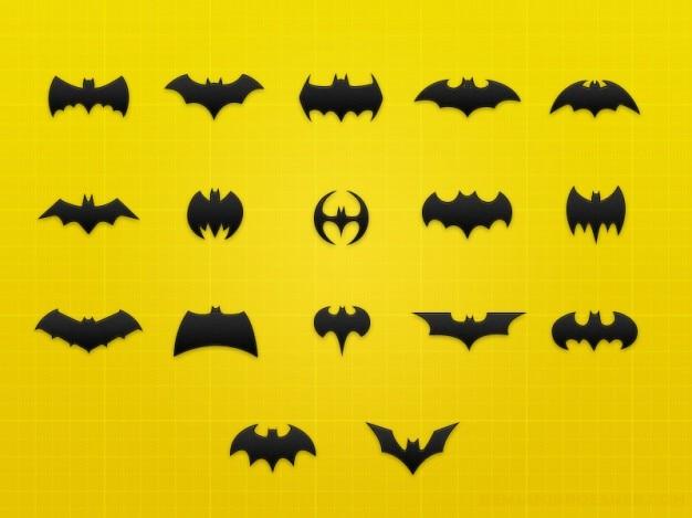 Iconos murciélago con las alas