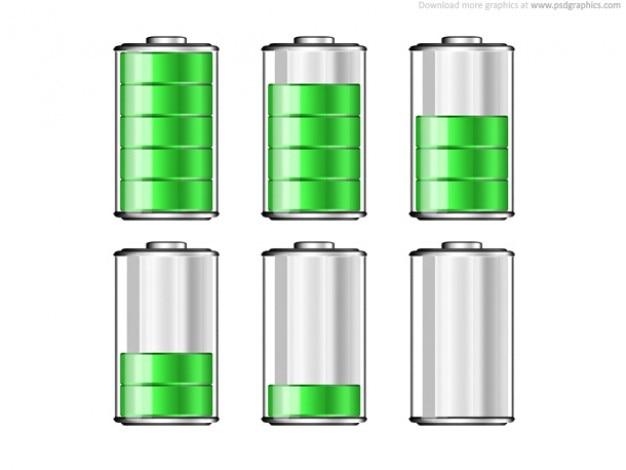Los iconos de los niveles de batería