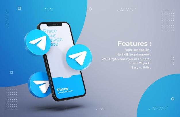 Iconos de telegrama 3d con maqueta de pantalla móvil