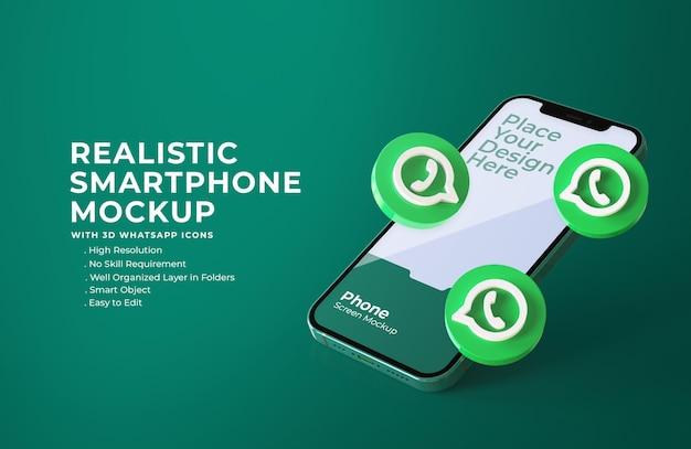 Iconos de whatsapp 3d con maqueta de pantalla móvil