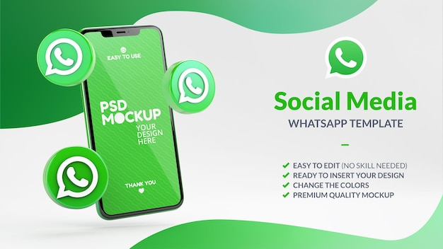 Iconos de whatsapp y maqueta de pantalla de teléfono para marketing en redes sociales en renderizado 3d