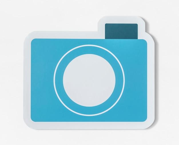 Icoon van blauw papier camera