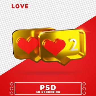 Icoon van liefde in 3d-rendering ontwerpweergave