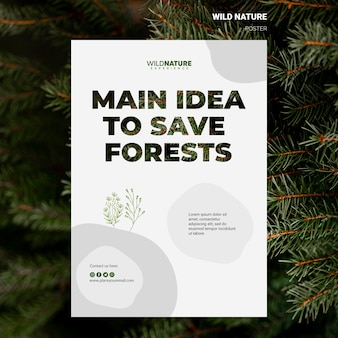 Idea per salvare il modello di volantino natura selvaggia delle foreste