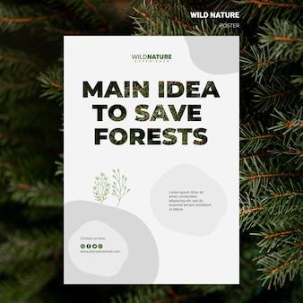 Idee om bossen wilde natuur flyer sjabloon te redden