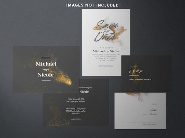 Identità del marchio moderno mockup blu e oro