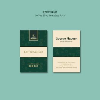 Identiteit coffeeshop visitekaartje sjabloon pack