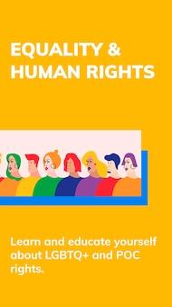 Igualdad de derechos humanos plantilla psd celebración del mes del orgullo lgbtq historia de redes sociales