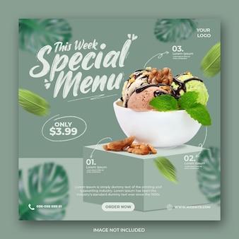 Ijs menu promotie sociale media instagram post sjabloon voor spandoek