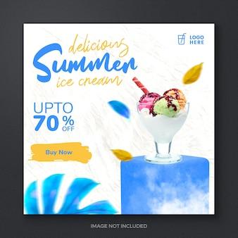 Ijs zomer sociale media promotie post ontwerpsjabloon banner