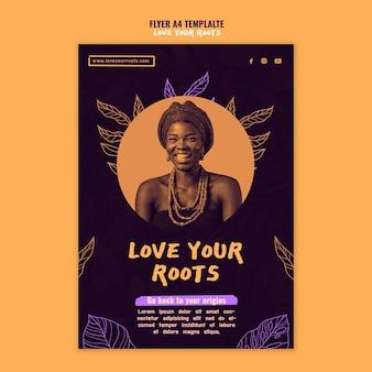 Ik hou van je roots flyer-sjabloon