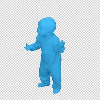 Il bambino isometrico 3d rende