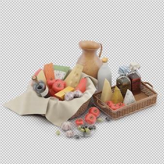 Il canestro di picnic con alimento 3d rende