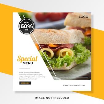 Il cibo offre sconti sul modello di post di instagram