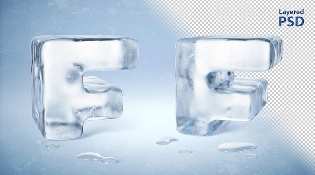 Il cubetto di ghiaccio 3d ha reso la lettera f
