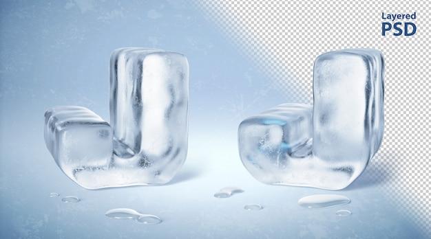 Il cubetto di ghiaccio 3d ha reso la lettera j