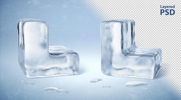 Il cubetto di ghiaccio 3d ha reso la lettera l