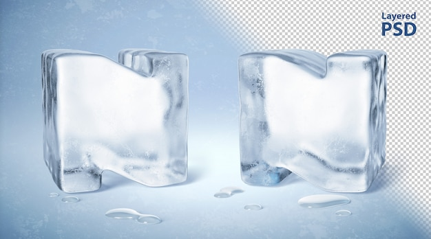 Il cubetto di ghiaccio 3d ha reso la lettera n