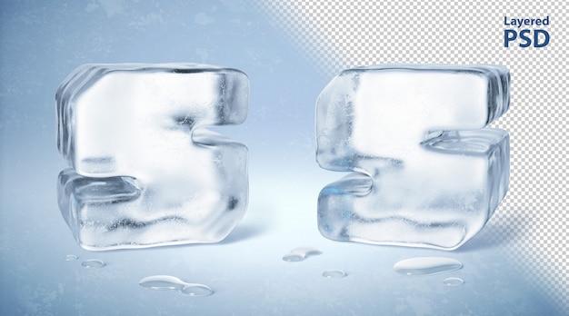 Il cubetto di ghiaccio 3d ha reso la lettera s