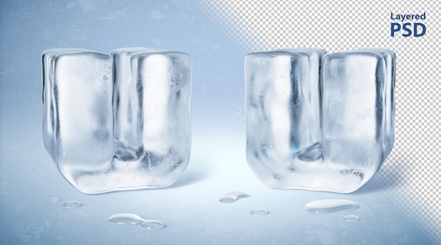 Il cubetto di ghiaccio 3d ha reso la lettera u