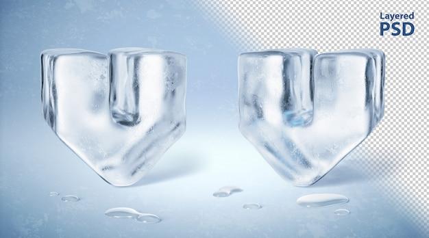 Il cubetto di ghiaccio 3d ha reso la lettera v
