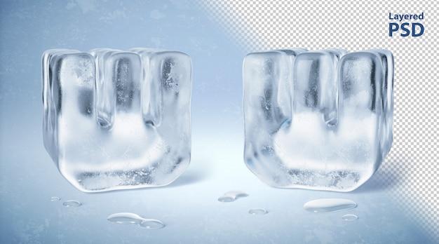 Il cubetto di ghiaccio 3d ha reso la lettera w