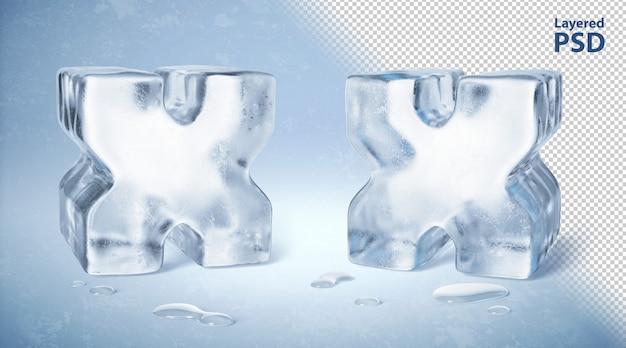 Il cubetto di ghiaccio 3d ha reso la lettera x